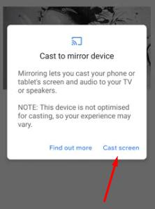 Select Cast Screen - Chromecast Microsoft Teams