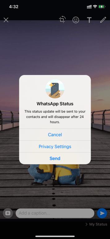 send - Change Status On WhatsApp