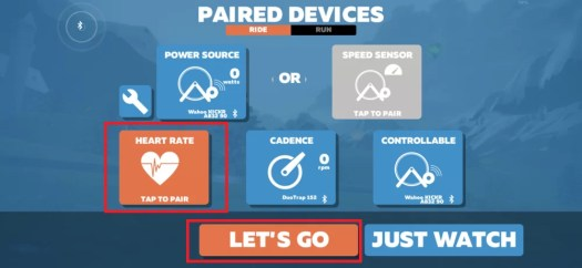 Pair the devices for Zwift