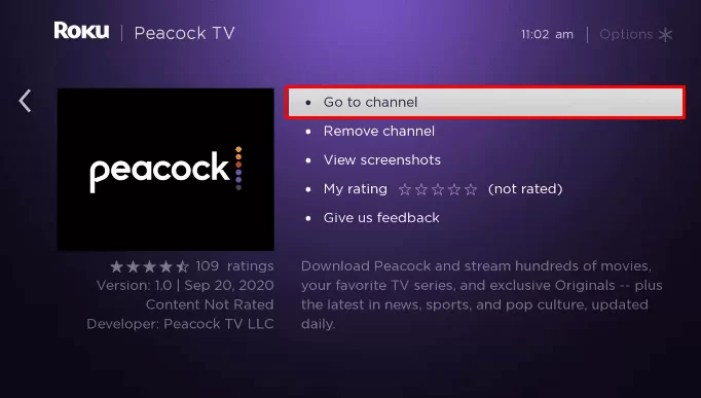 Click Go to Channel to launch Peacock TV on TCL TV