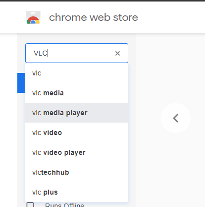Search VLC on Chrome Store