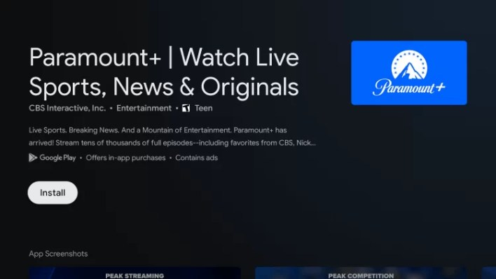 Install Paramount Plus on Chromecast with Google TV