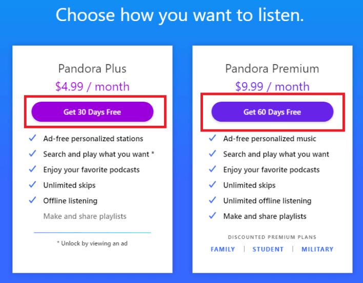 premium plans - How to get Pandora Premium for Free