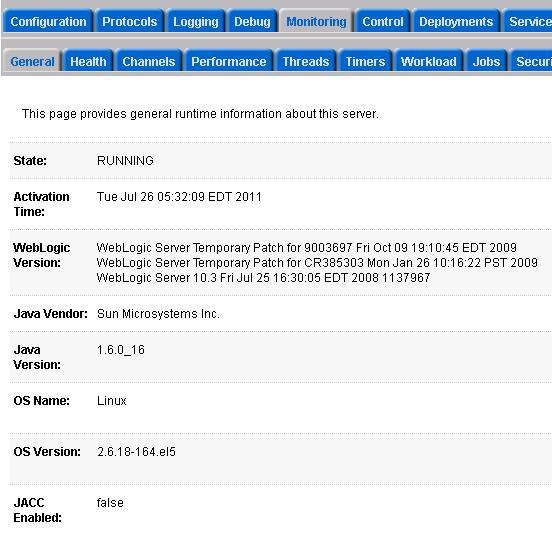 Weblogic Monitoring General Screen