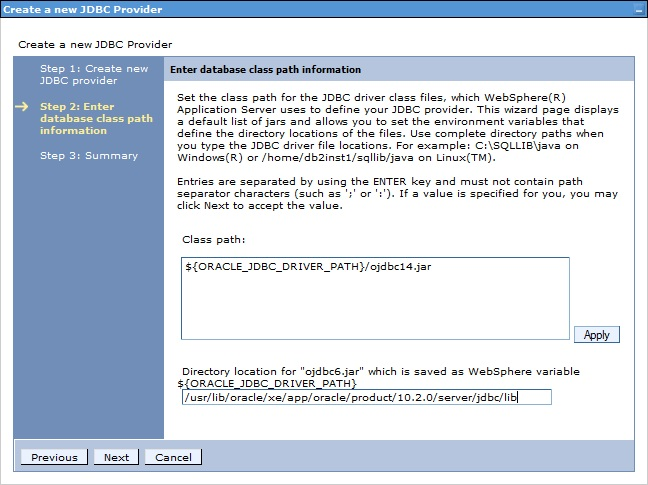 Create a new JDBC provider screenshot 2
