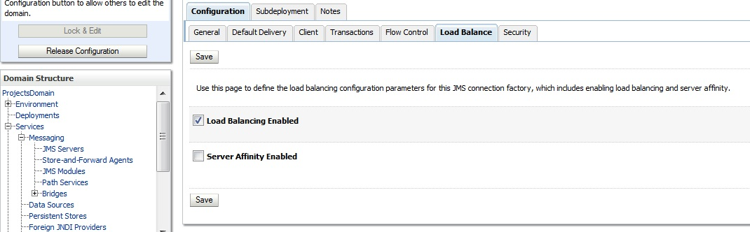 Connection factory Load Balancing