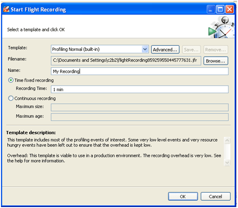 Start Flight Recording Screen