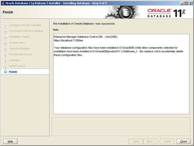 Installing Oracle Database 11g