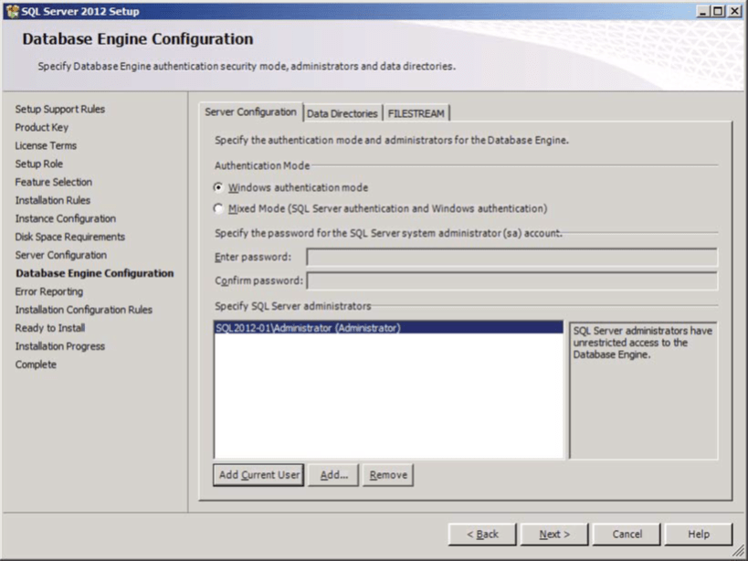 SQL Server Database Engine Configuration