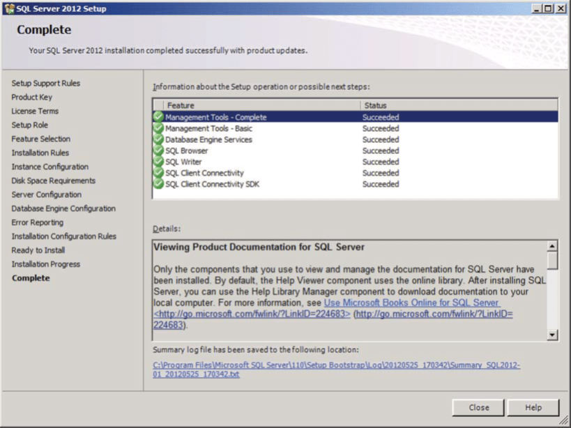 SQL Server Installation Complete Screen