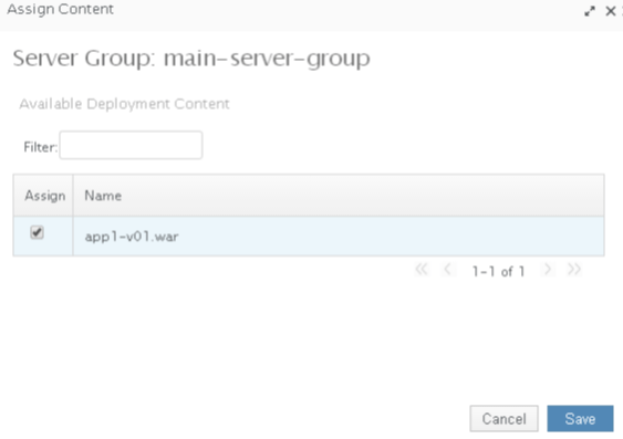 WildFly Server Group Screen