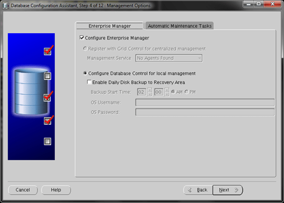 Database Configuration Assistant Screen