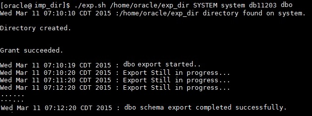 export DB script run output