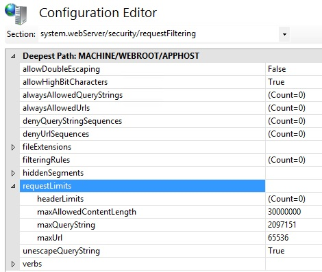 IIS requestLimits Configuration