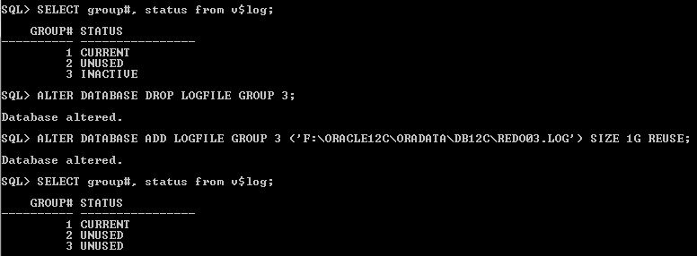 Oracle Redo Log Size Drop Group 3
