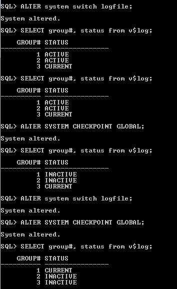 Redo log file switch