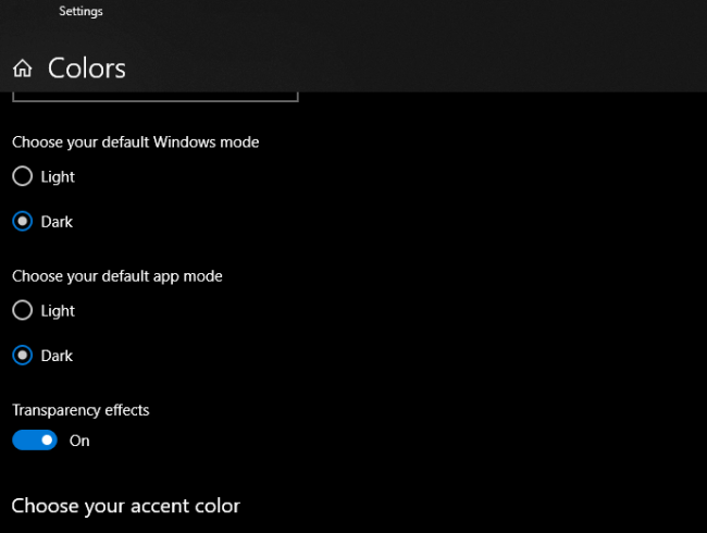 Select Dark mode