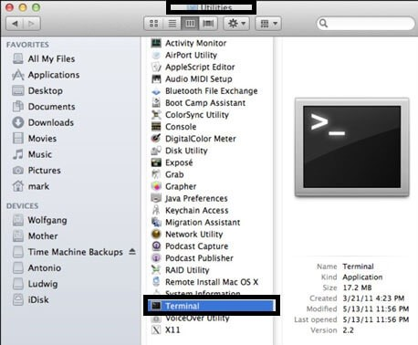 Open Terminal on Mac Under Applications Folder