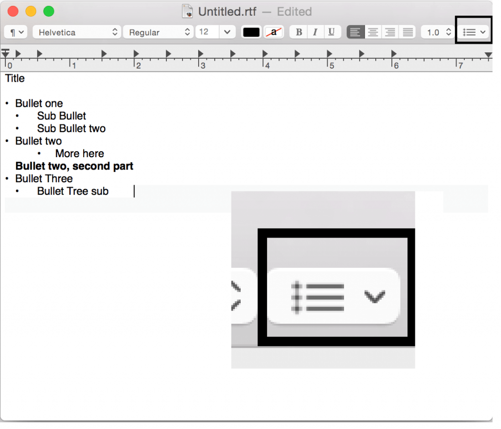 Make a bullet point on Mac in Text Edit