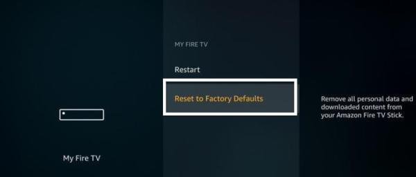 My Fire TV - Reset to Factory Defaults