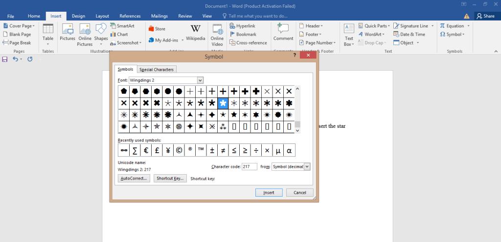 Star Symbol on Keyboard