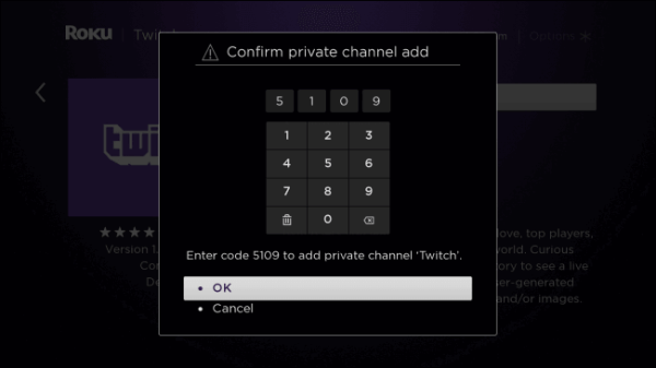 Enter PIN - Twitch on Roku