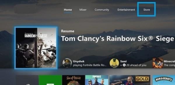 Xbox Home screen