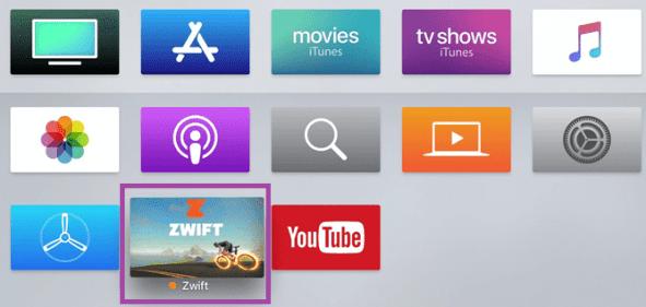 Zwift app on the Apple TV