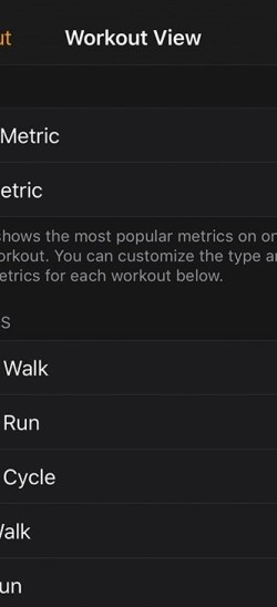 Change Metrics for each workout
