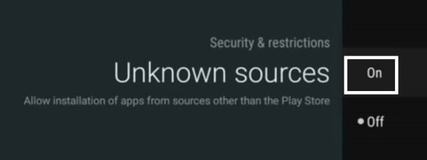 Turn on Apps from Unknown Sources.