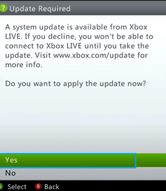 Xbox Update Available