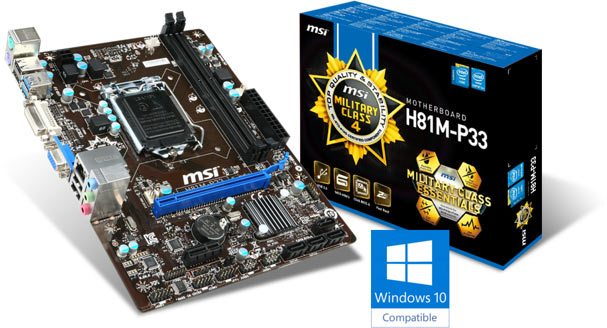 MSI H81M-P33 Is The First Board to be Windows 10 Certified