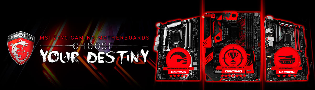 MSI debut its brand new suite of Z170 GAMING motherboards