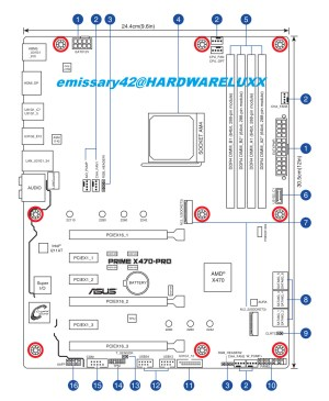 ASUS AMD X470 Motherboard Layout Drawings and Specs Sheets
