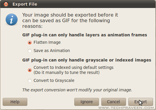 Export Dialog Box in GIMP