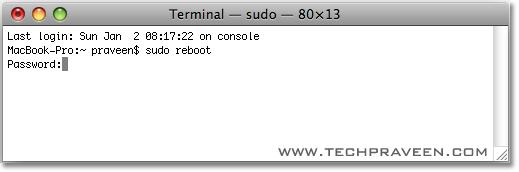 reboot mac os x from terminal