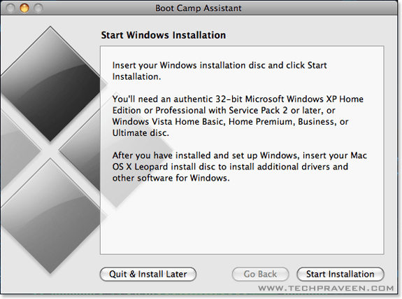 Start Windows Installation in Boot Camp