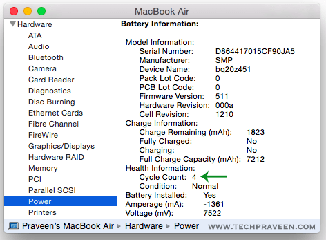 MacBook Battery Cycle Count Info