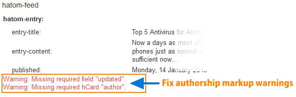 Fix Authorship Markup Warnings