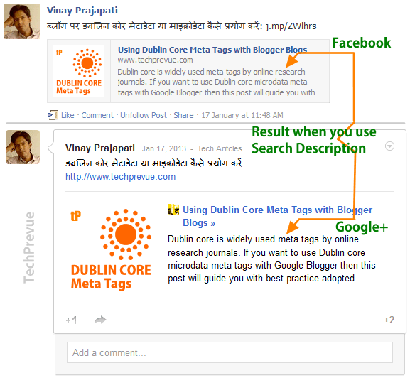 Search description for Facebook and Google plus