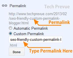 Enter Custom Permalink