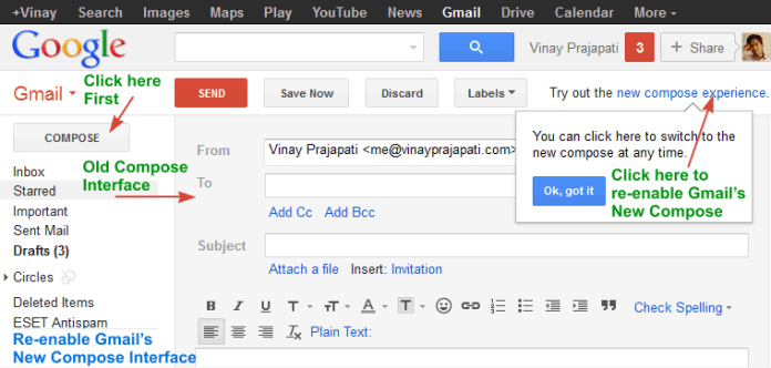 Enable Gmail Quick Compose Mode