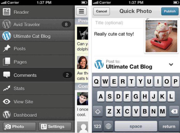 WordPress iOS device