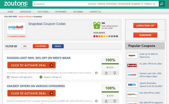 Zoutons.com Snapdeal deals and coupons