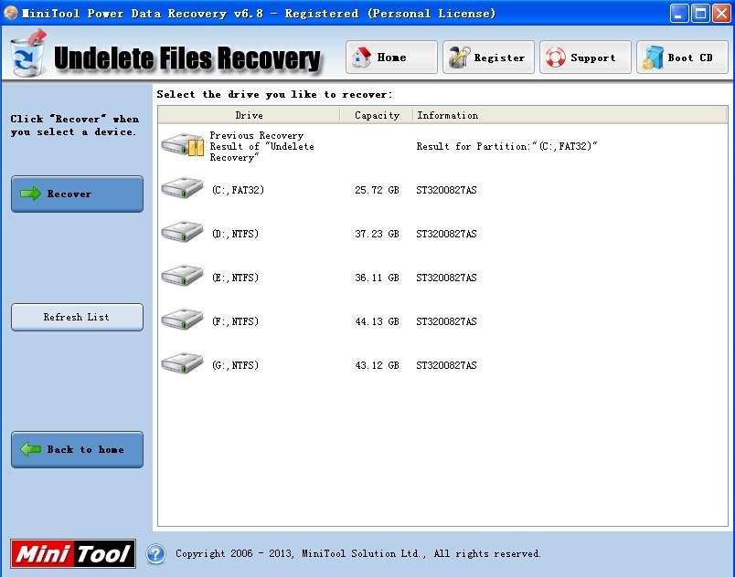 mini tool power data recovery start
