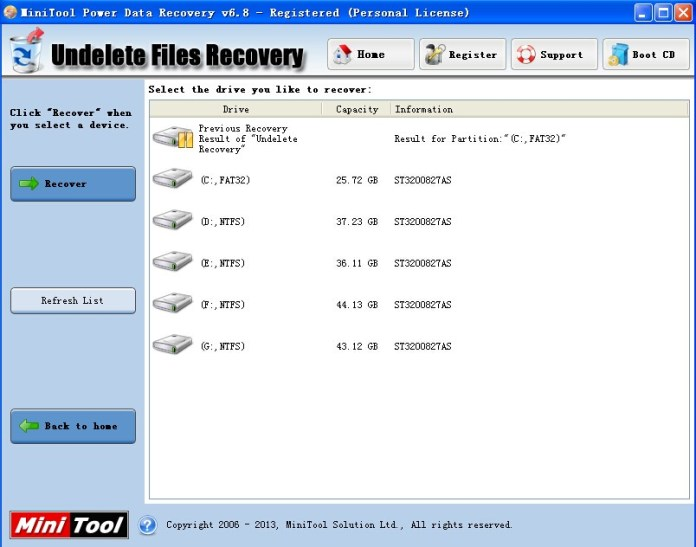 mini tool power data recovery undelete files