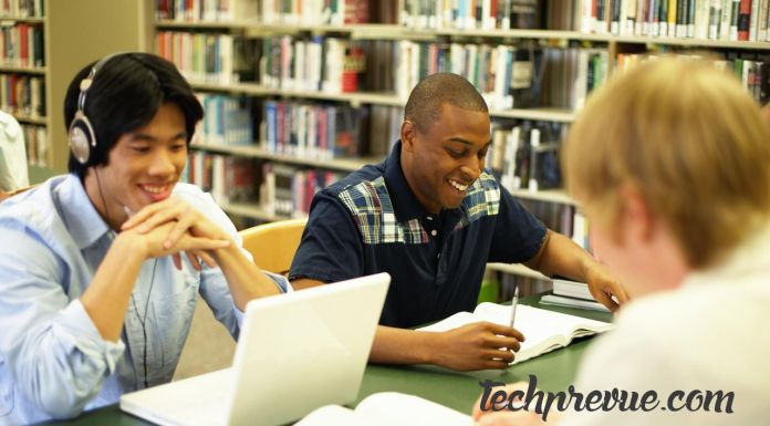 Students studying library