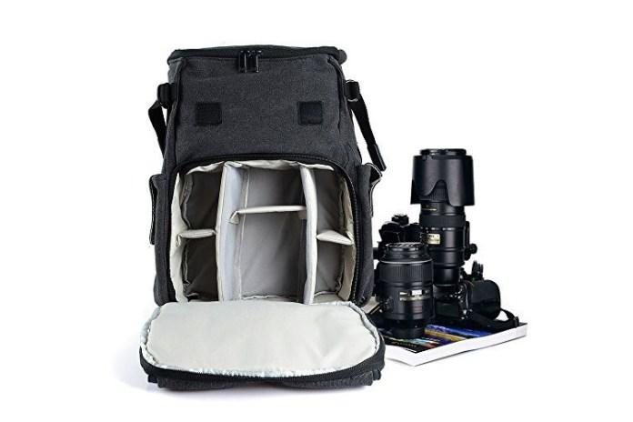 bestek waterproof camera bag open