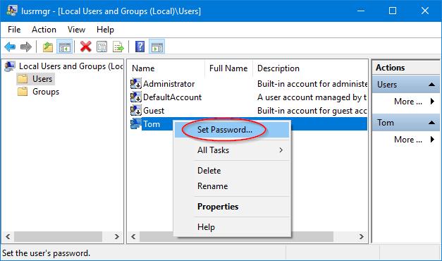 reset windows forgotten password