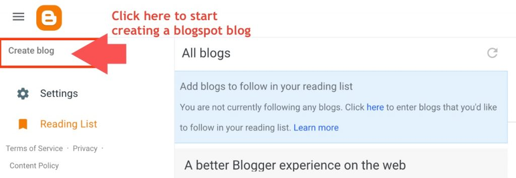 First step to create a blogspot blog
